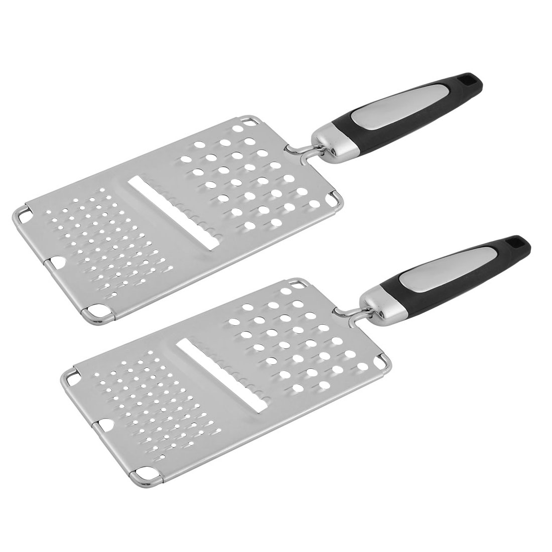 Household Plastic Handle Stainless Steel Potato Garlic Ginger Grater Silver Tone Black 2 Pcs
