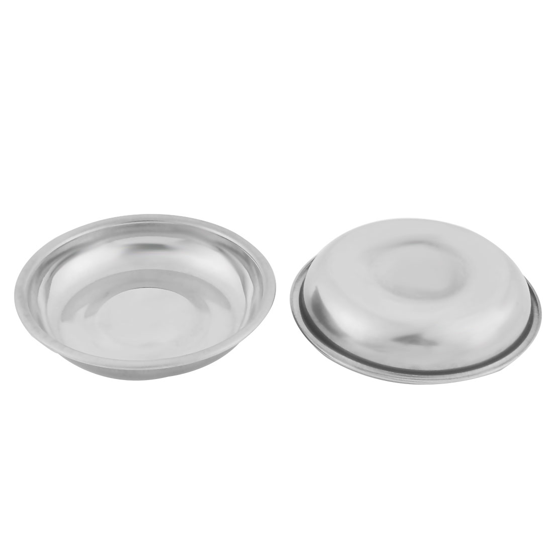 Home Metal Round Shaped Soy Sauce Spice Dipping Serving Dish Silver Tone 2 Pcs