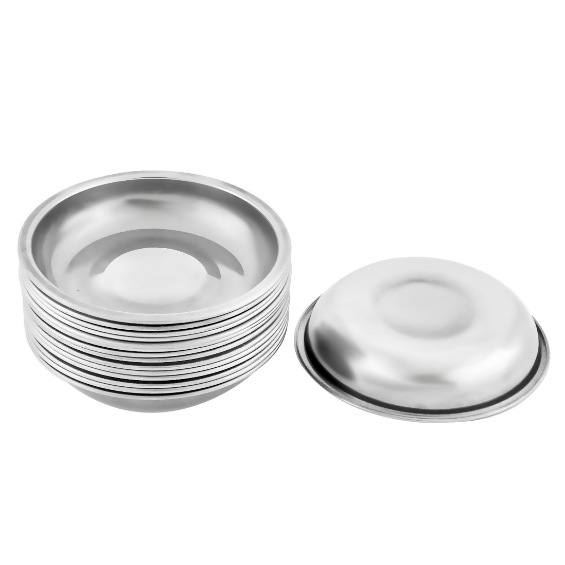 Household Metal Round Shaped Soy Sauce Spice Dipping Serving Dish Silver Tone 15 Pcs