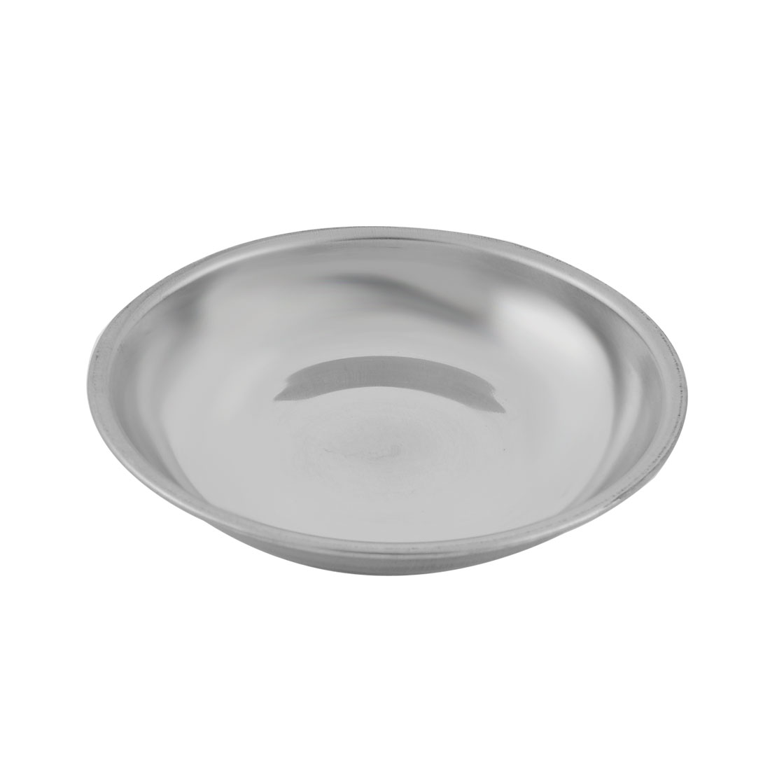 Household Metal Round Shaped Soy Sauce Spice Dish Silver Tone 10cm Diameter