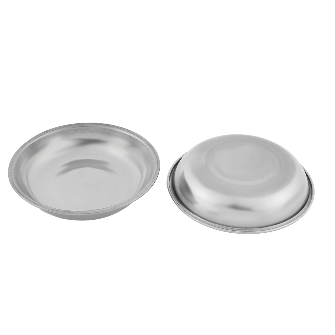 Household Metal Round Shaped Soy Sauce Spice Dipping Serving Dish Silver Tone 2 Pcs