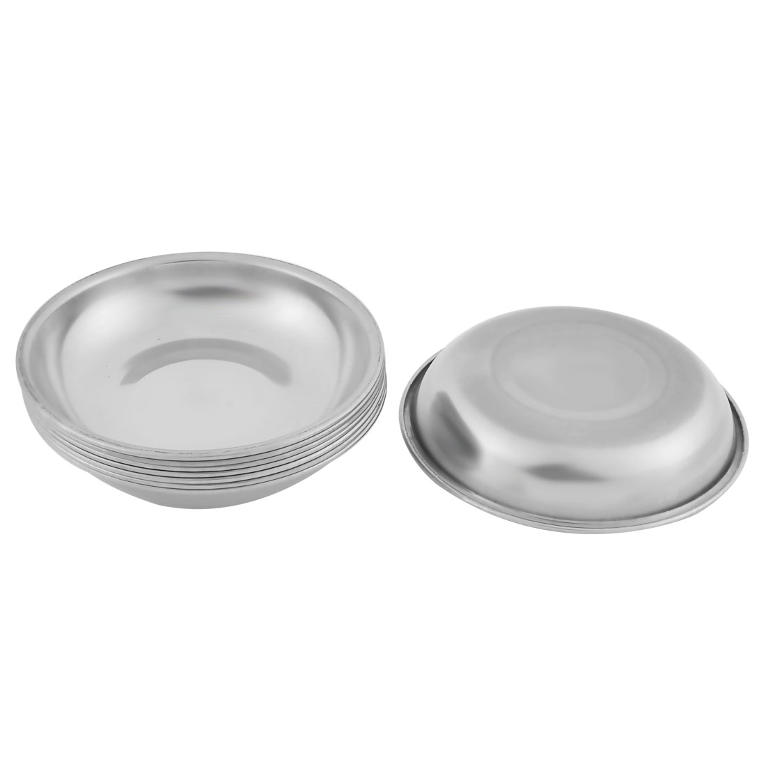 Household Metal Round Shaped Soy Sauce Spice Dish Silver Tone 10cm Diameter 8 Pcs