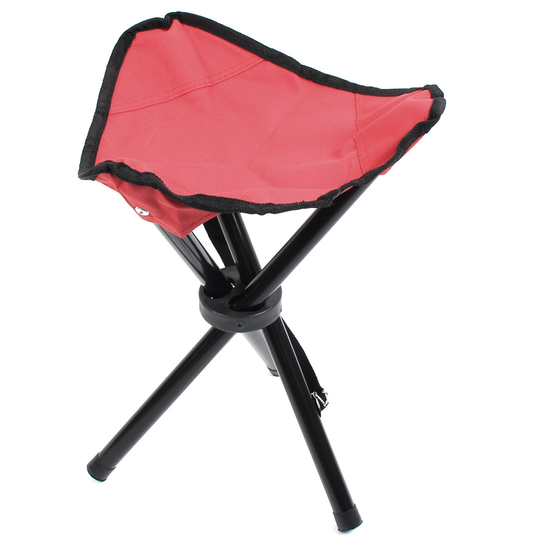 Outdoor Fishing Travel Metal Frame Nylon Seat Portable Folding Tripod Chair Stool Red