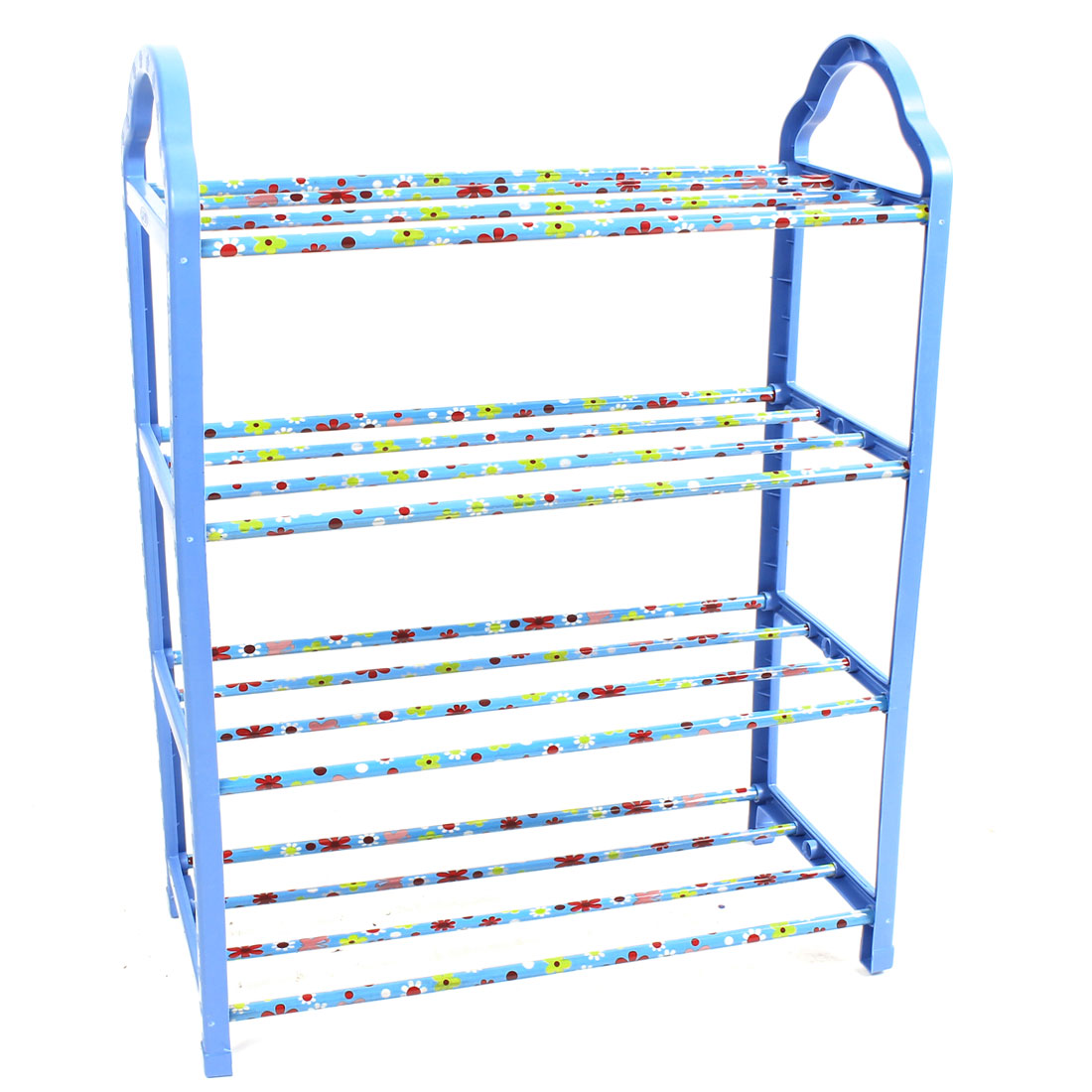 Household Plastic Shell 4 Layers Detachable Shoes Rack Storage Organizer Holder Shelf Blue