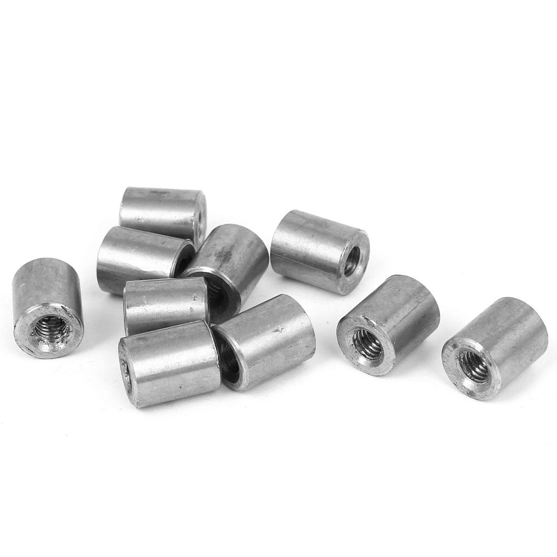 10pcs M5x12x10mm 304 Stainless Steel Threaded Round Coupling Connector Tube Nuts