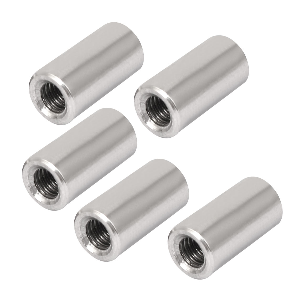 M6 Rose Joint Adapter Threaded Rod Bar Stud Round Coupling Connector Nuts 5pcs