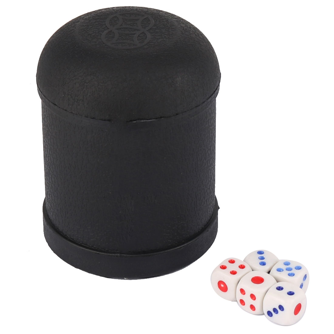 KTV Pub Bar Party Casual Toy Plastic Round Shaker Cup Black w 5 Dices