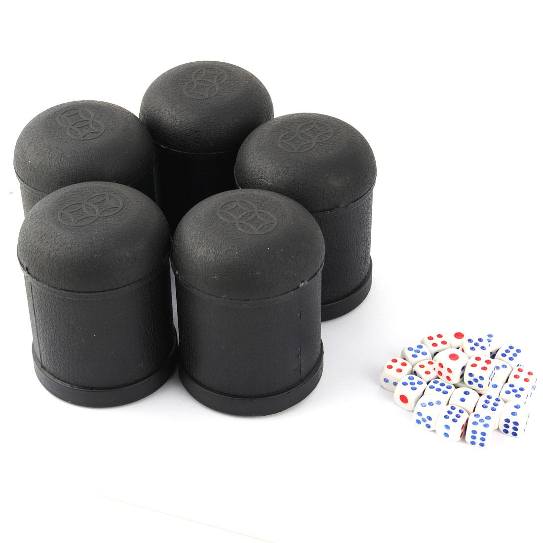 KTV Pub Bar Party Casual Toy Plastic Round Shaker Dice Cup Black 5 PCS