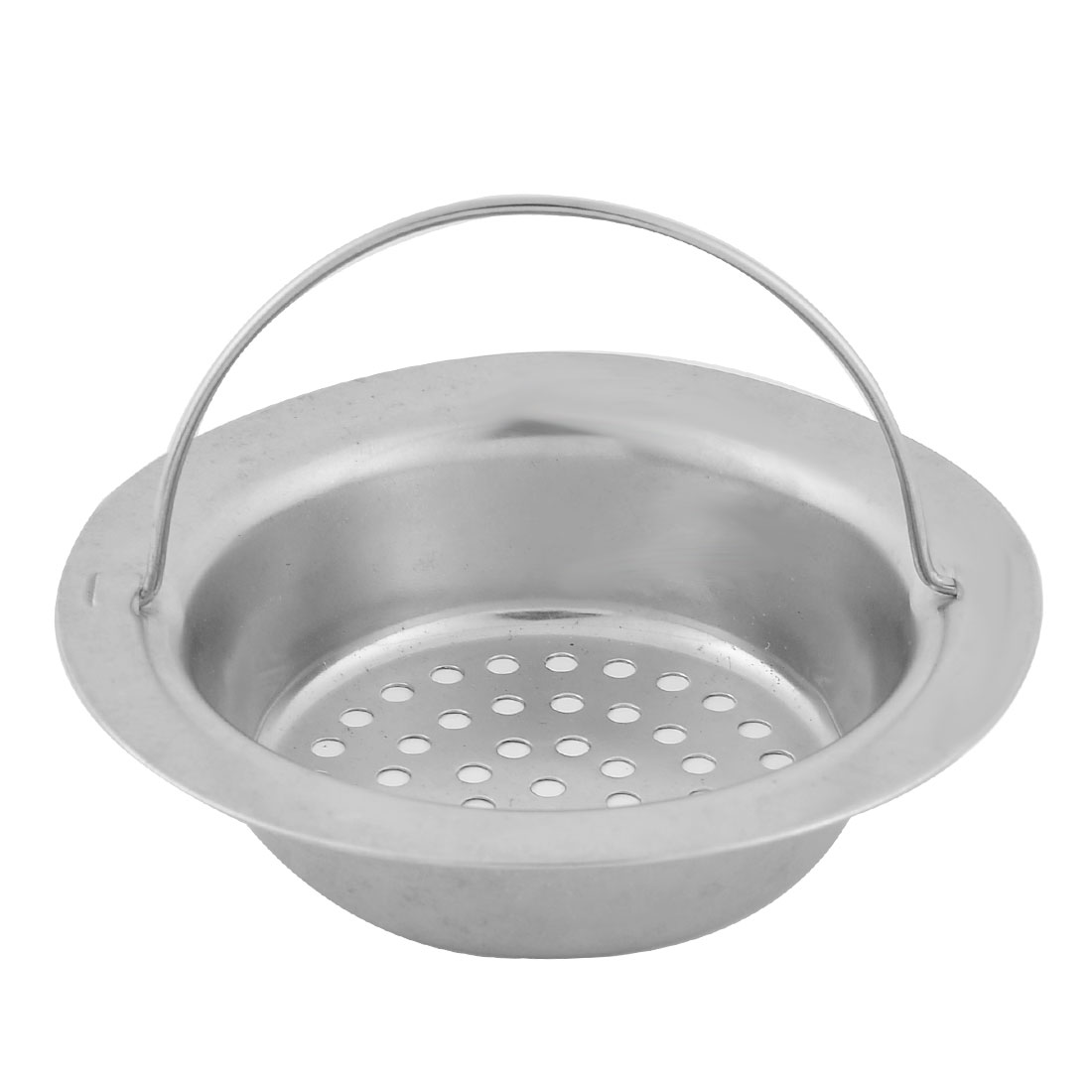 Household Kitchen Stainless Steel Hand-held Basin Sink Strainer Drainer Silver Tone