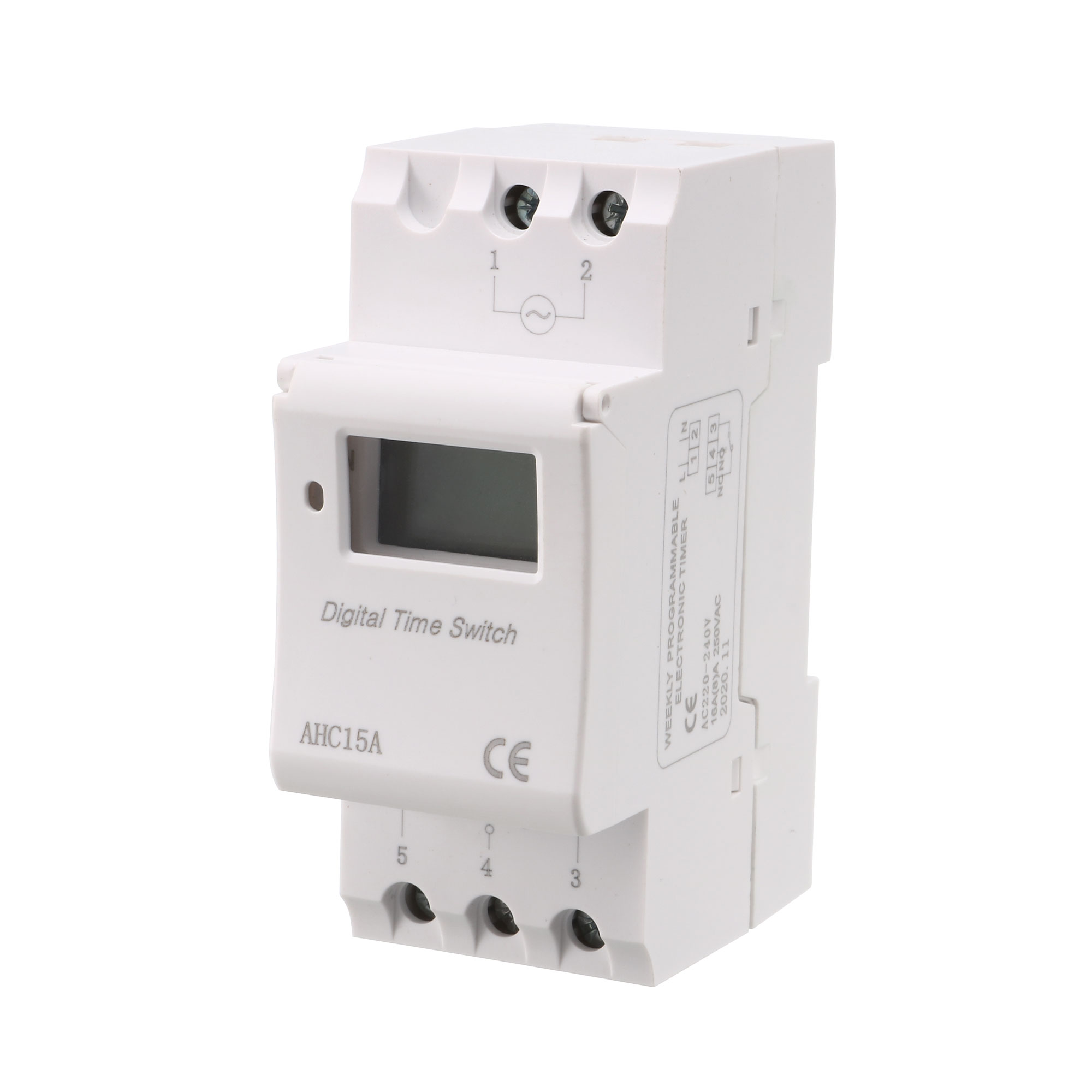 AC220V-240V DIN Rail Mount Digital Weekly Programmable Electronic Timer AHC15A