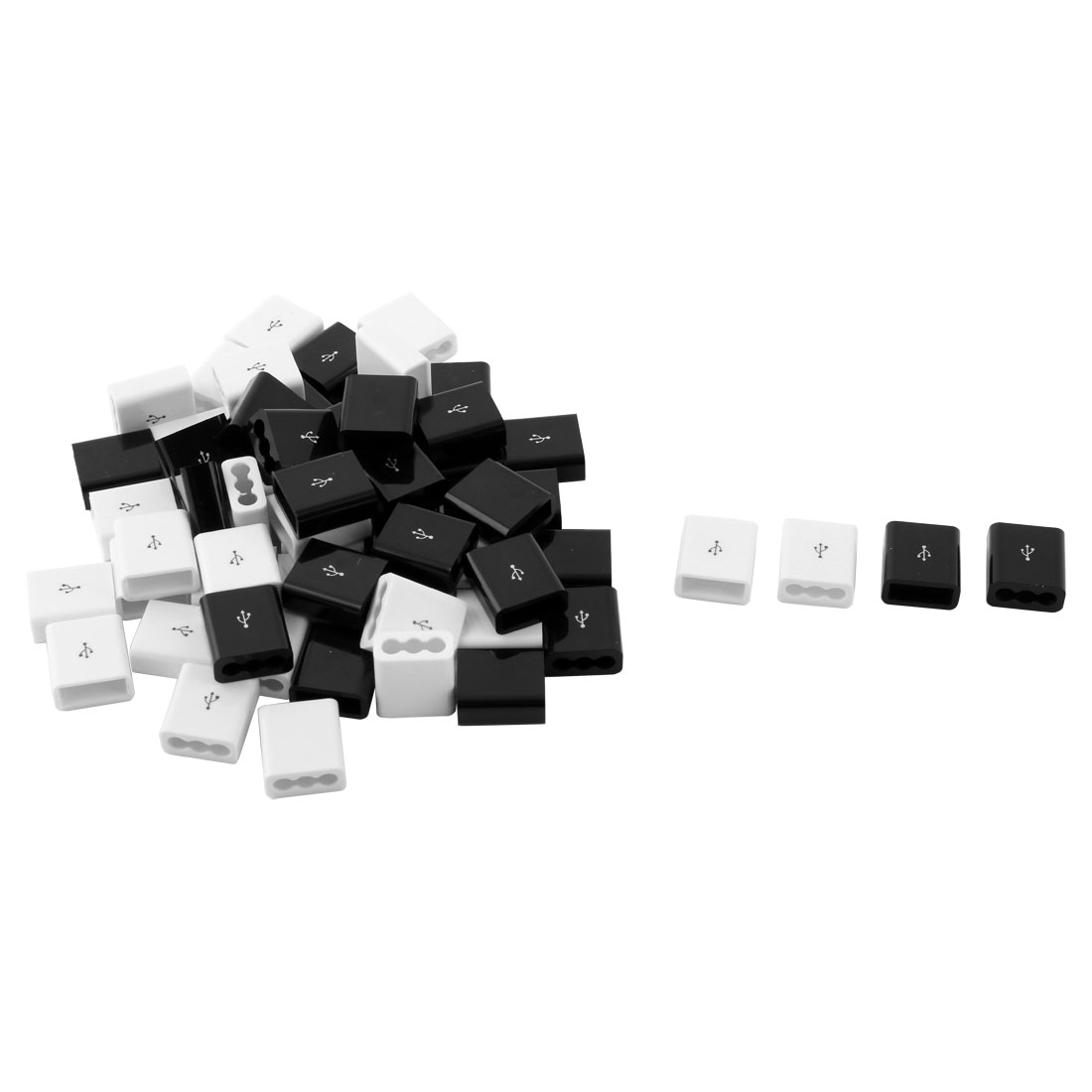 Company Plastic DIY Electrical Transfer Connector Linker USB Head Shell White Black 60pcs