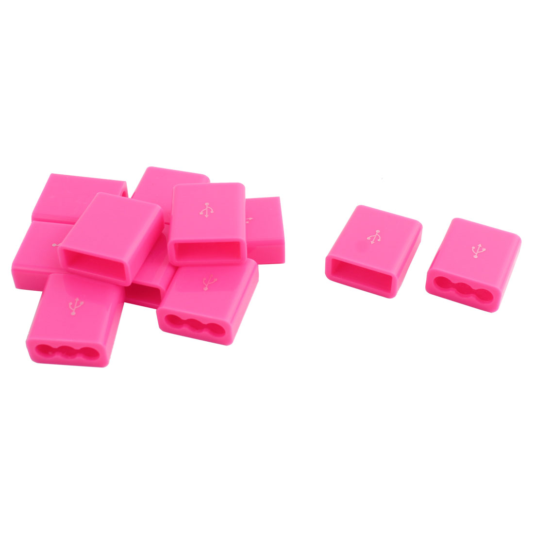Plastic Round Edge USB Charger Cable Parts USB Linker Socket Port Shell Pink 16x15x6mm 11pcs