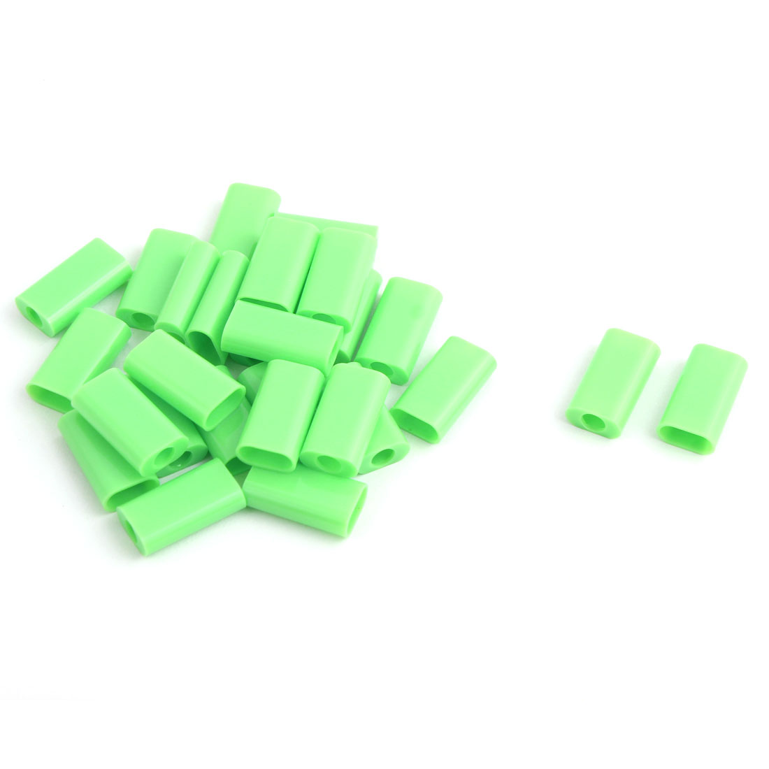 Phone Plastic Round Edge Linker Jack USB Port Connector Shell Parts Green 16x9x5mm 15 PCS