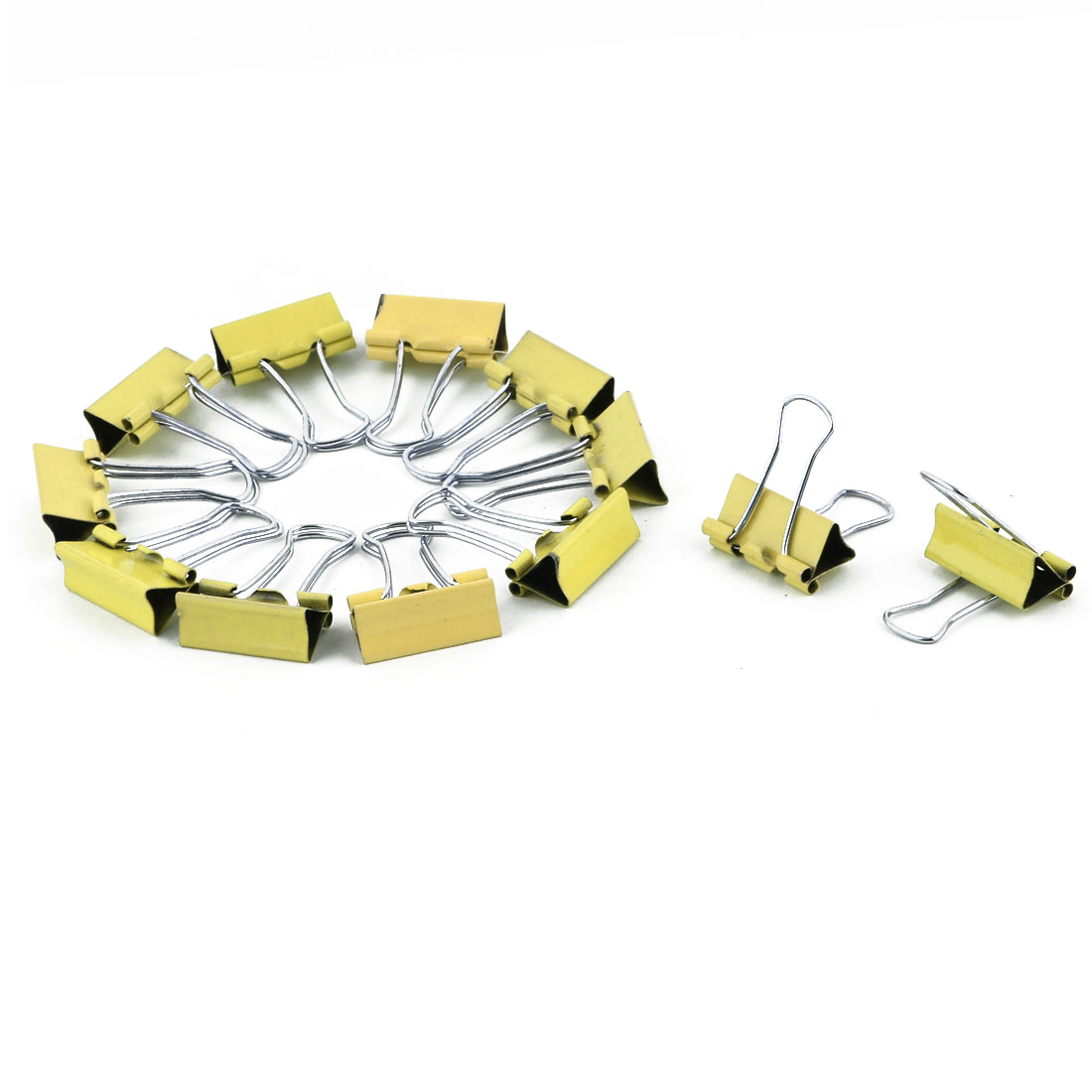 Office Metal Bill Ticket File Paper Organized Binder Clips Clamps Yellow 12 PCS