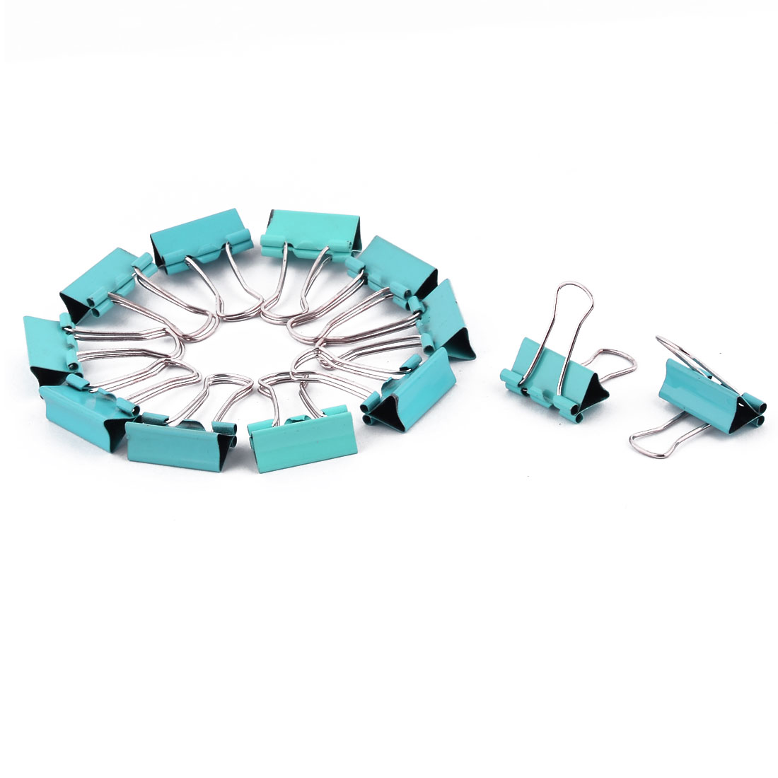Office Metal Ticket File Paper Work Binder Clips Clamps Sky Blue 12 PCS