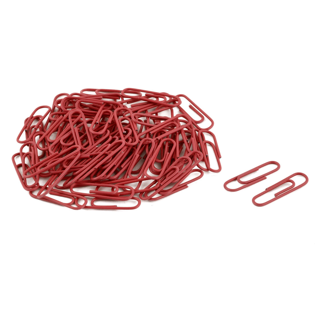 Office Plastic Coated Document Ticket Bookmark Binding Paper Clip Red 28mm 71pcs