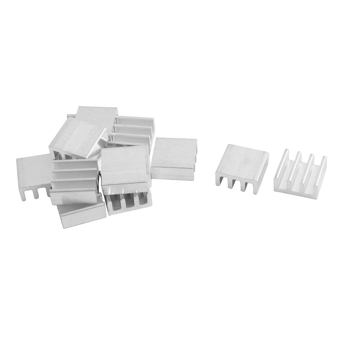 Computer Aluminum Heatsink Cooling Fin Cooler Silver Tone 11mm x 11mm x 5mm 14pcs