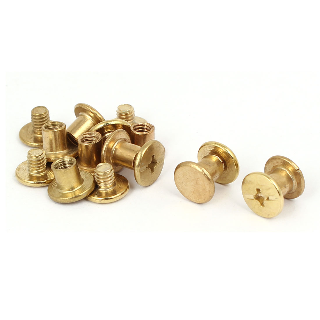 Photo Album Metal Brass Plated Binding Screw Post Barrel Nut M5x6mm 8pcs