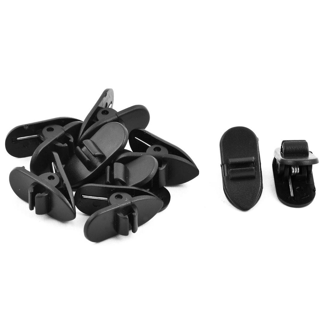 Earphone Headset Plastic Rotate Mount Cable Clothing Clip Organizer Black 9pcs