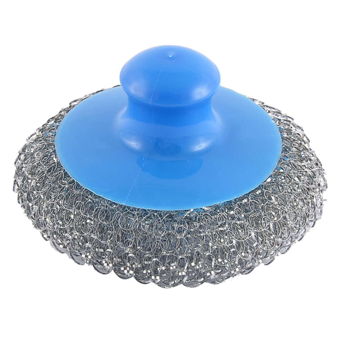 Plastic Handheld Metal Wire Ball Round Shape Pot Cleaner Cleaning Brush Blue