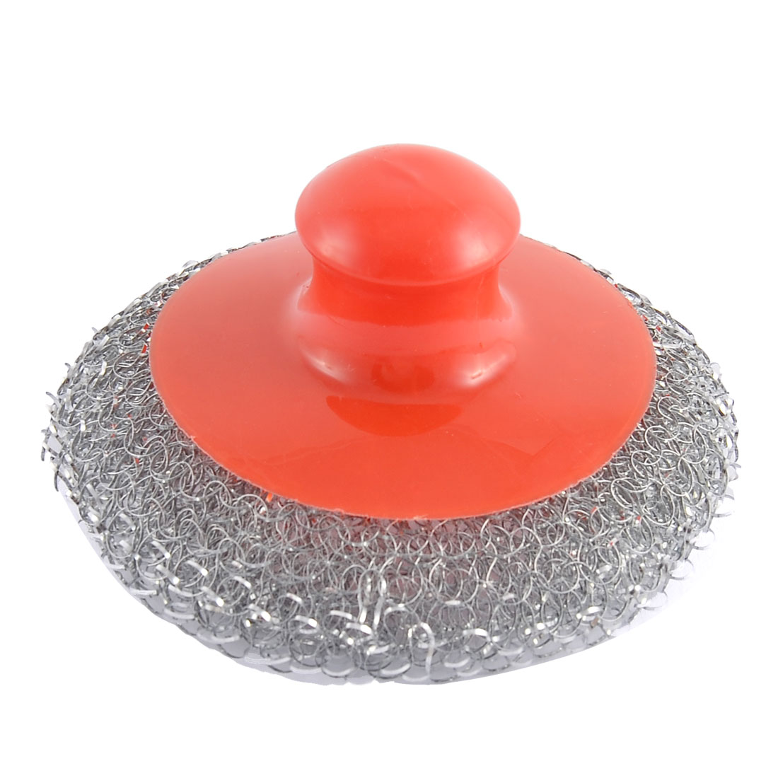 Kitchenware Plastic Handheld Metal Wire Ball Pot Scrubber Cleaning Brush Red