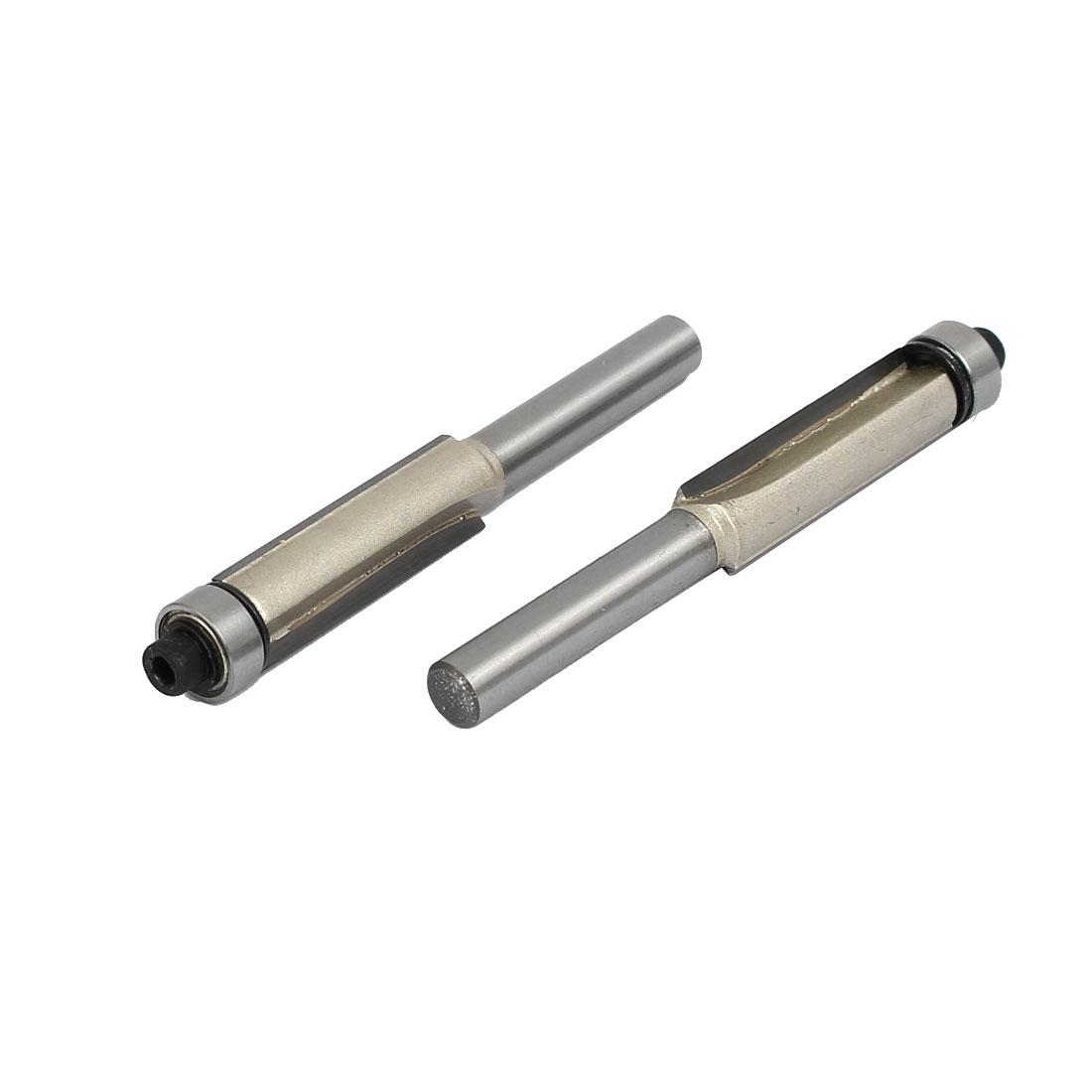 """1/4"""" Shank Diameter 3/8"""" Cutting Dia Double Flute Bearing Flush Trim Bits 2pcs"""