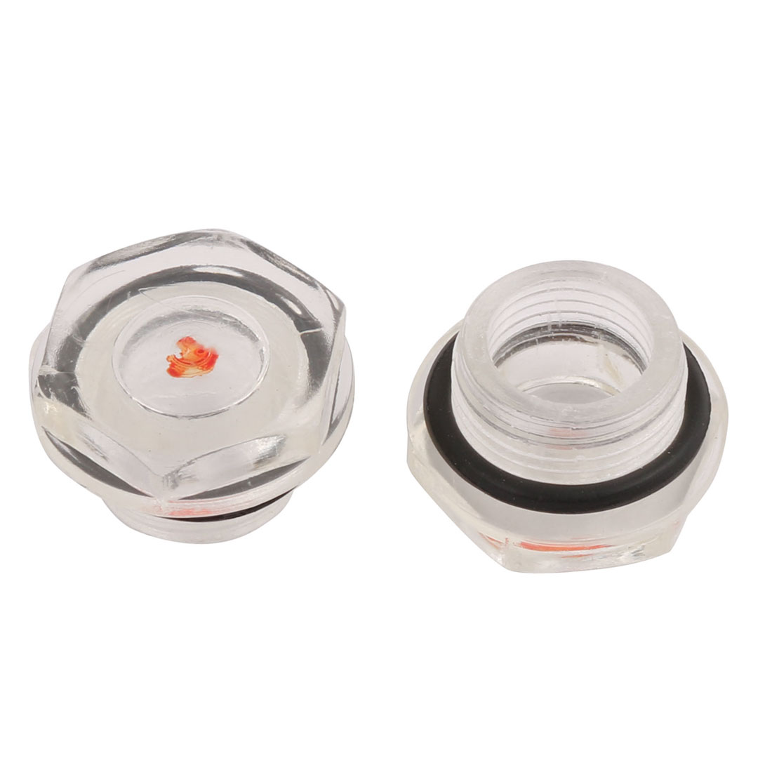 2Pcs 17mm Male Thread Dia Replacing Parts Liquid Sight Glass for Air Compressor