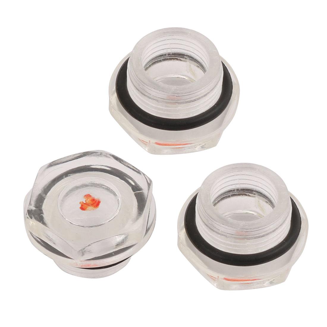 3Pcs 17mm Male Thread Dia Replacing Parts Liquid Sight Glass for Air Compressor