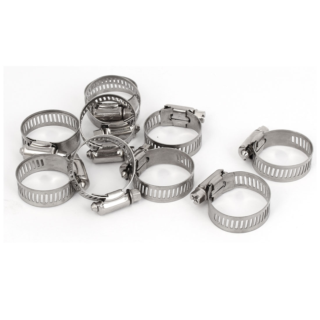 Water Pipe Hose Fitting Metal Adjustable Tight Worm Gear Clamp Silver Tone 18-32mm 10pcs