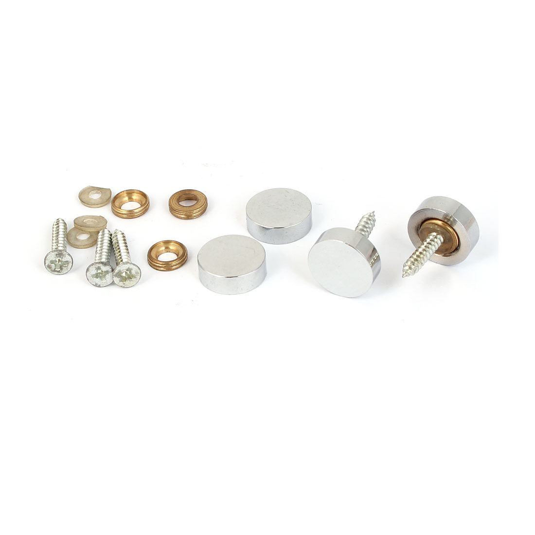 Tea Table Wardrobe Round Flat Metal Mirror Screw Cap Nail Silver Tone 4pcs