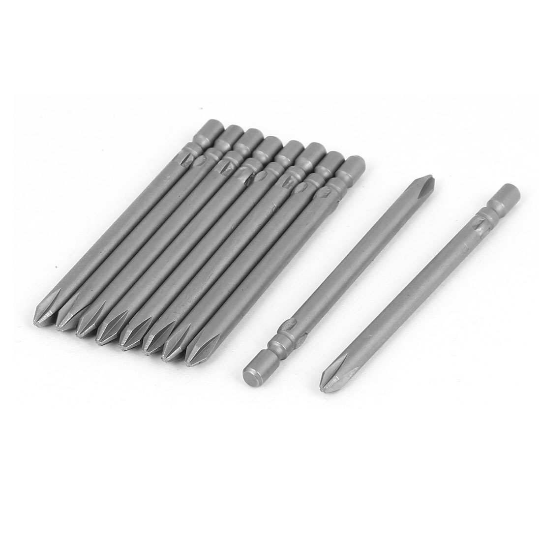 60mm Long 4mm Tip Magnetic S2 Steel Phillips Drive Screwdriver Bit Gray 10 Pcs