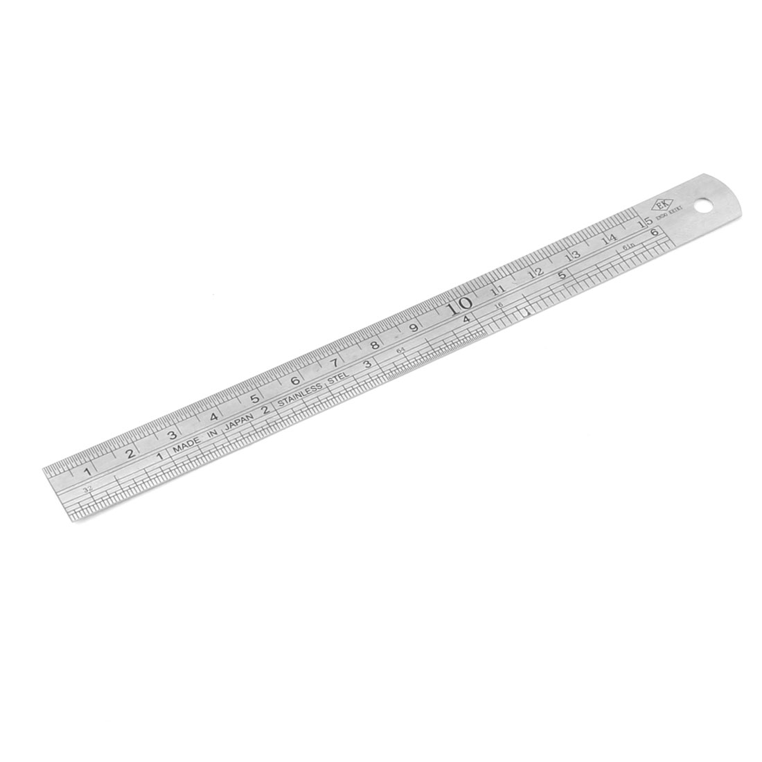 Office Metal Dual Side Marked Metrication Straight Ruler Silver Tone Black