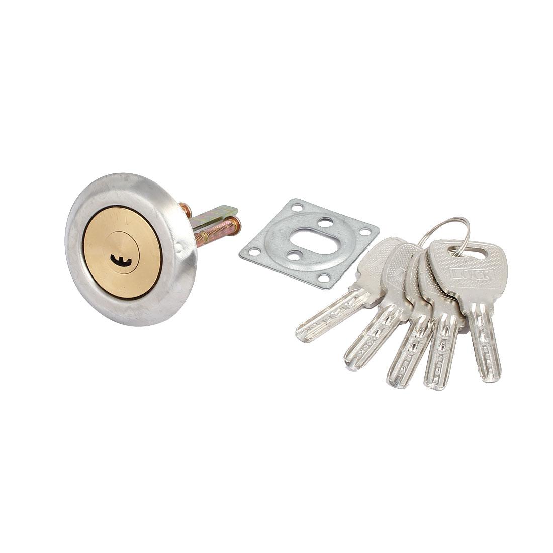 Furniture Closet Door Brass Cylinder Head Plunger Lock 64mmx52mm w 6 Keys