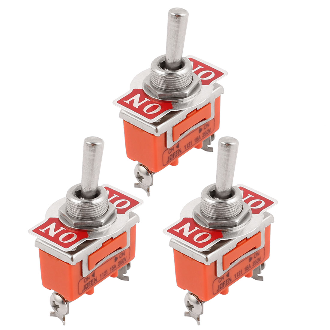 3 Pcs 250V 15A ON/ON 2 Position 3 Terminals SPDT NO Toggle Switch Latching