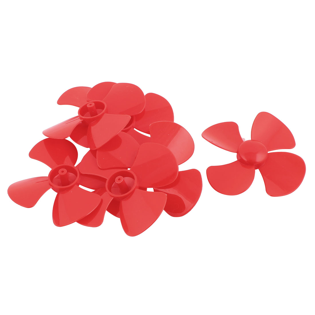 6Pcs Fan Shape 4 Vanes 80mm Dia RC Boat Propeller Paddle Red for Brushless Motor