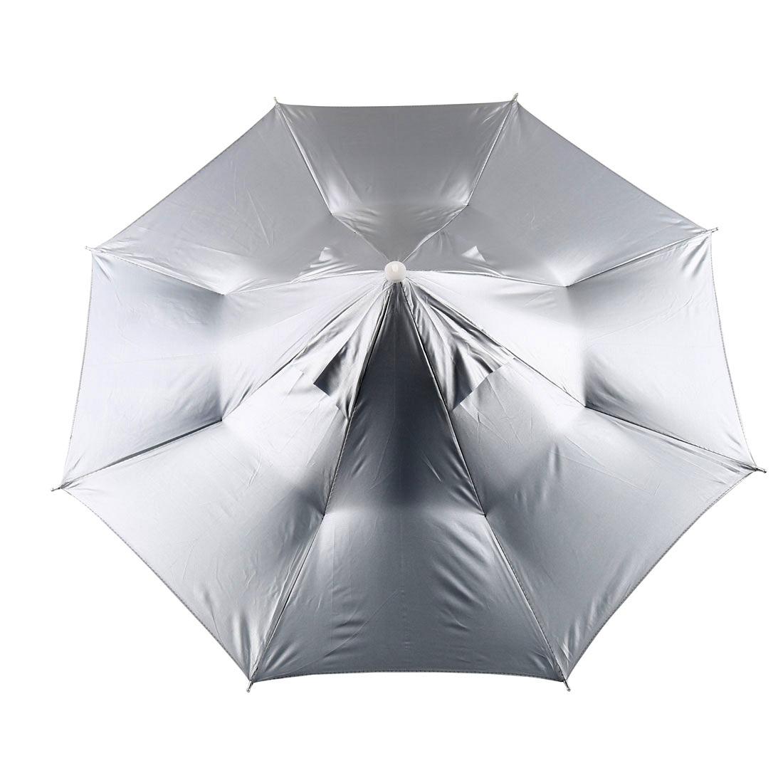 Fishing Folding Hands Free Sun Umbrella Hat UV Parasols Headband Silver White