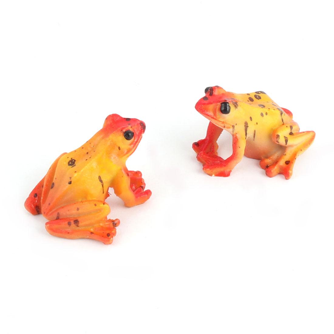 Aquarium Fish Tank Ceramic Artificial Simulated Frog Decoration Orange Red 2 Pcs