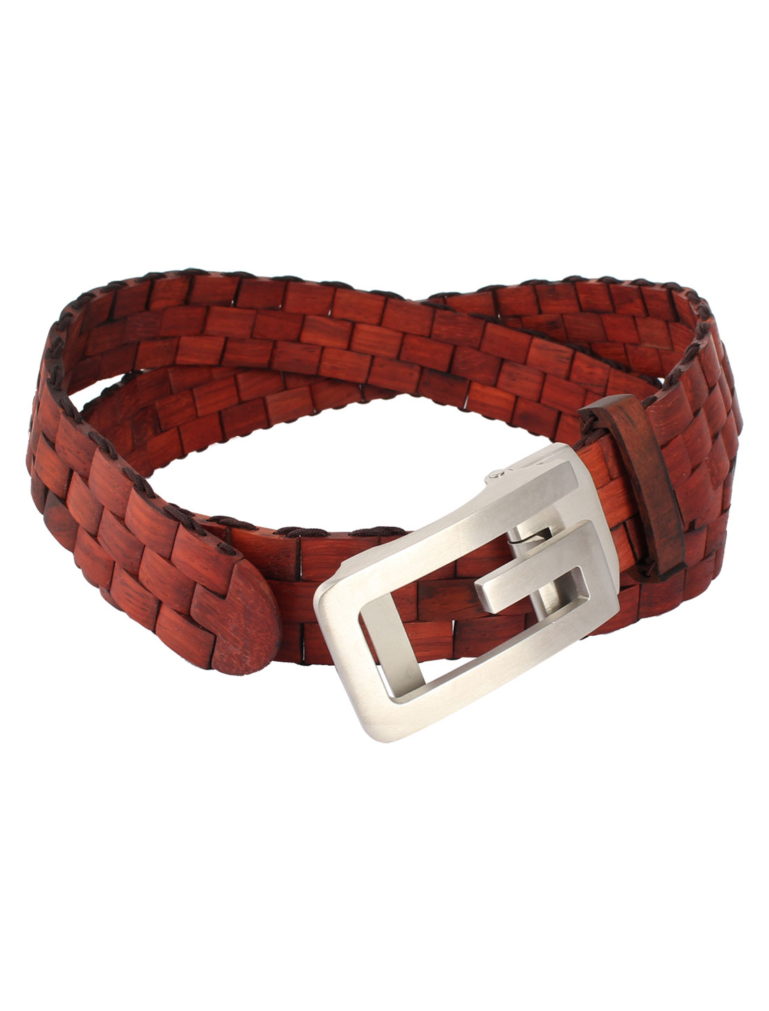 Wooden Belt Stainless Steel G Shape Buckle Waist Belt Burgundy for Man