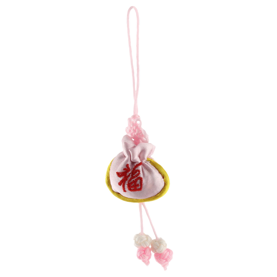Household Chinese Mini Embroidery Luck Sachet Pendant Knot Wall Hanging Decor Pink