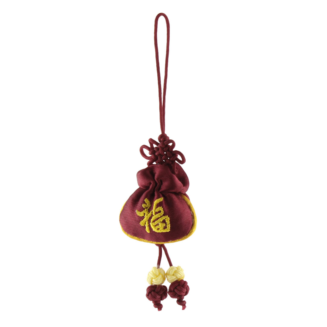 Household Mini Chinese Embroidery Luck Hanging Sachet Pendant Knot Dark Red