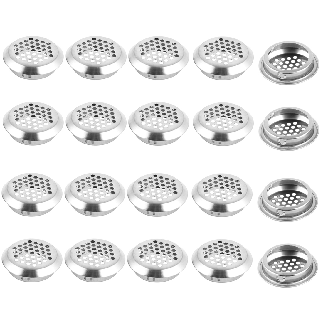 Furniture Cabinet Garderobe Perforated Mesh Air Vents Silver Tone 35mm Dia 20pcs
