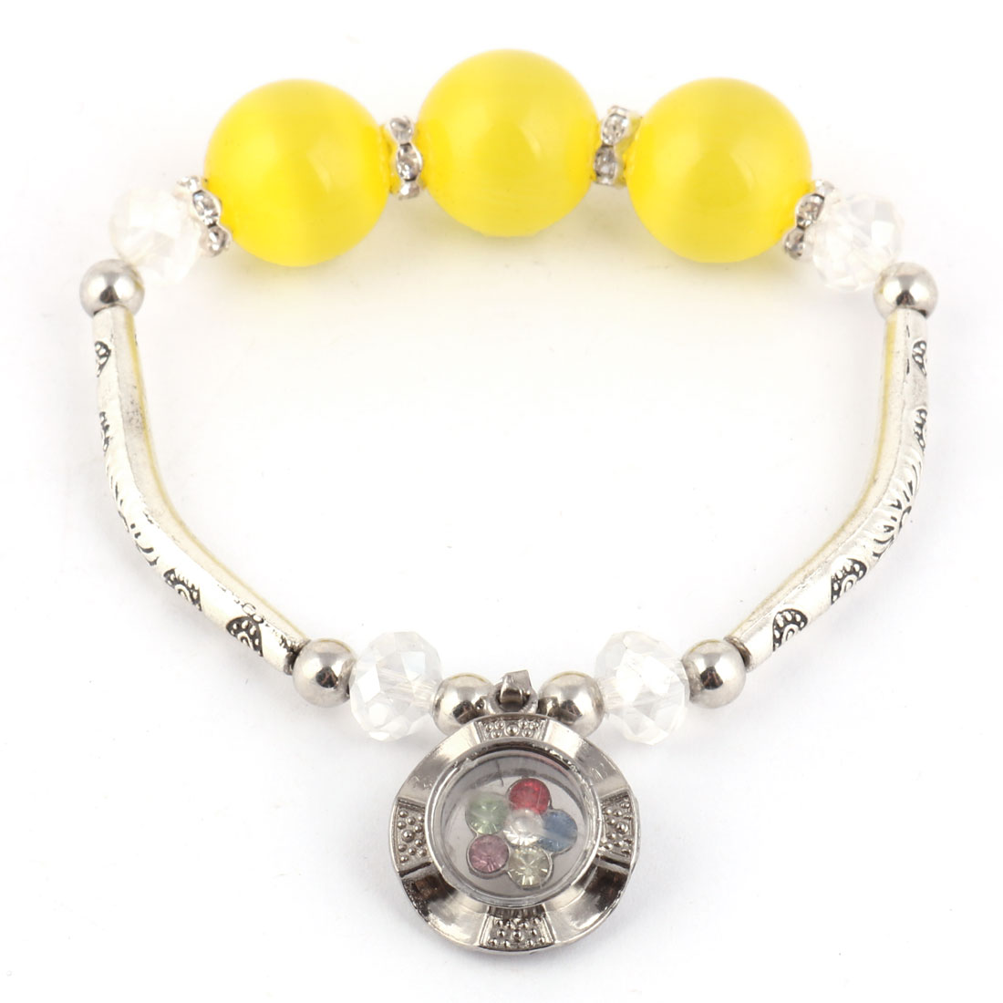 Lady Rhinestone Decor Pendant Bracelet Beads Bangle Silver Tone Yellow