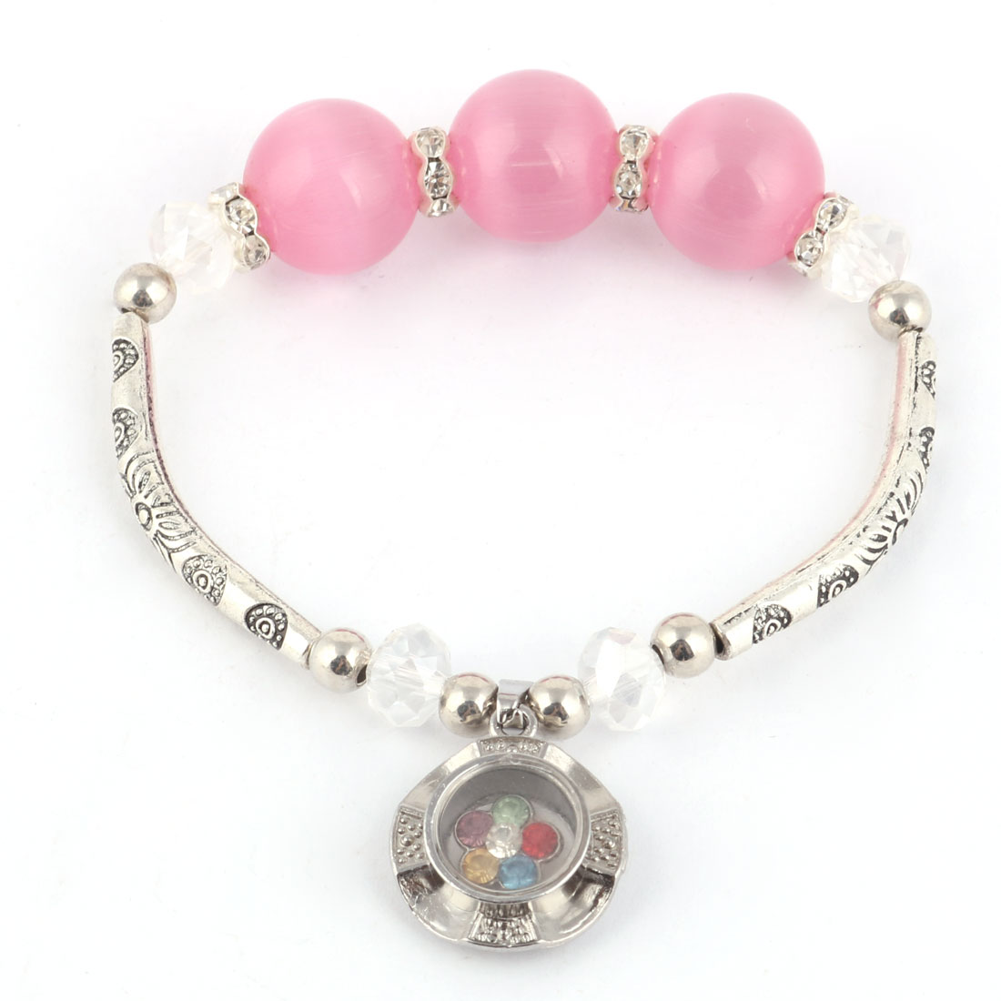 Lady Rhinestone Decor Pendant Bracelet Beads Wrist Chain Bangle Silver Tone Pink