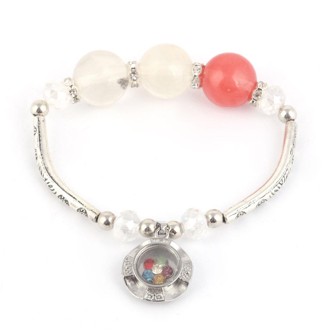 Lady Party Rhinestone Decor Pendant Wrist Bracelet Beads Bangle 14mm Dia