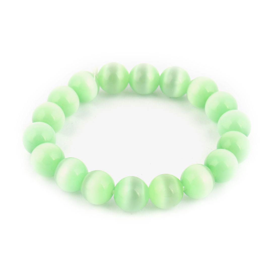 Lady Party Plastic Beads Faux Cat Eye Stone Bracelet Bangle Green 10mm Dia
