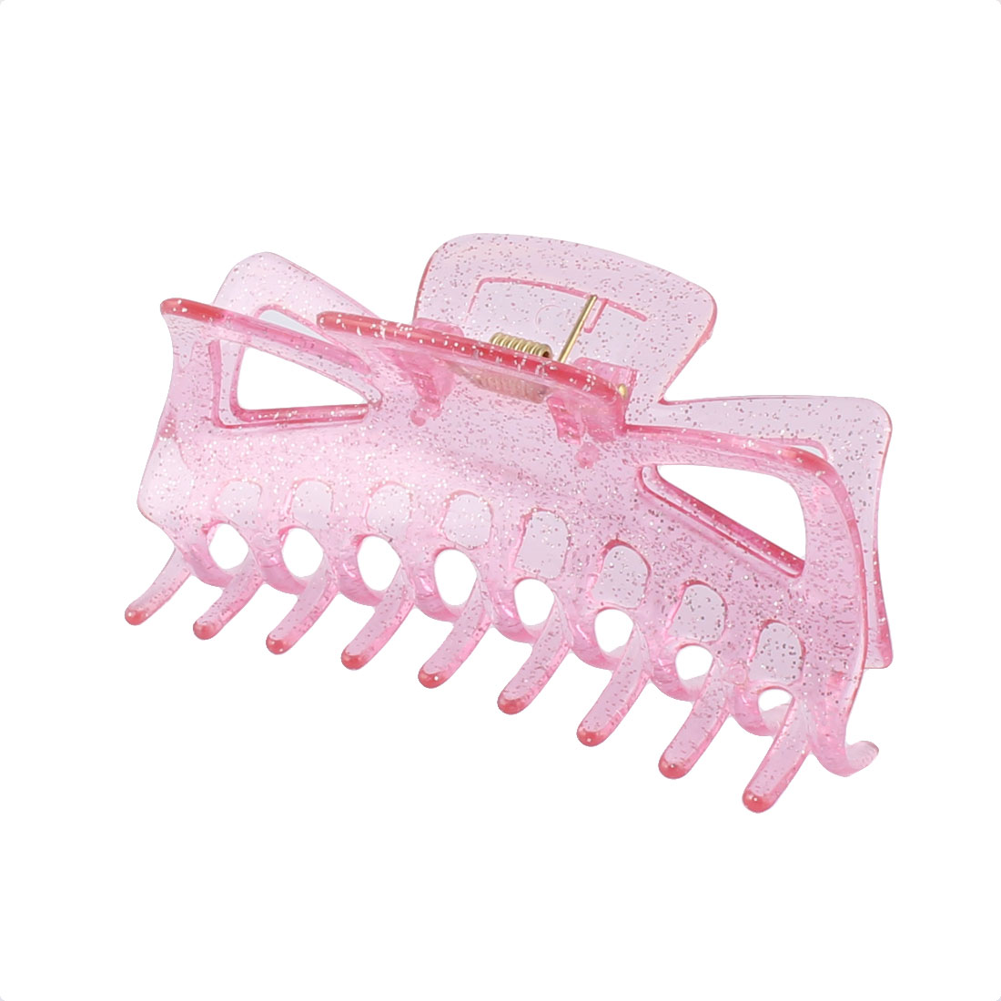 Lady Plastic Spring Loaded Non-slip 18 Teeth Hair Claw Clamp Barrette Pink