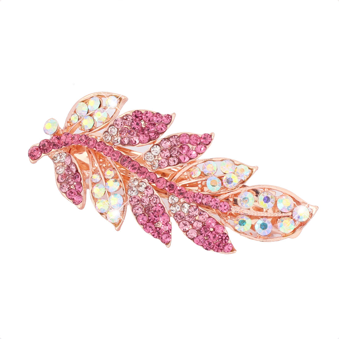 Lady Metal Leaves Welt Rhinestone Ornament French Spring Hair Clip Hairpin