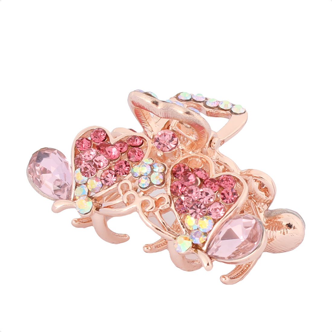 Women Metal Butterfly Beautify Sparkle Rhinestone Mount 5 Teeth Hair Claw Pink