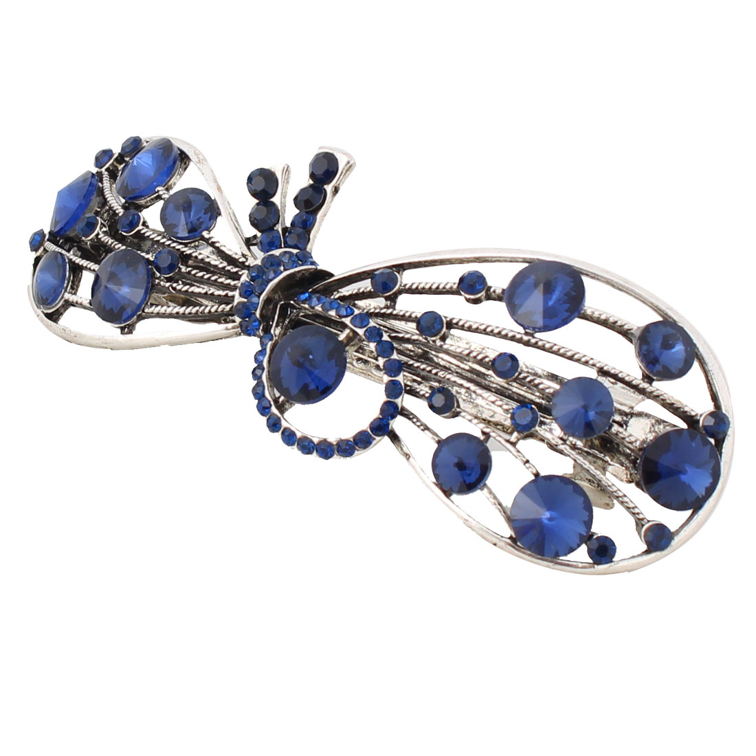 Women Metal Hollow Bowknot Adorn Shining Rhinestone Welt Hair Clip Barrette Blue