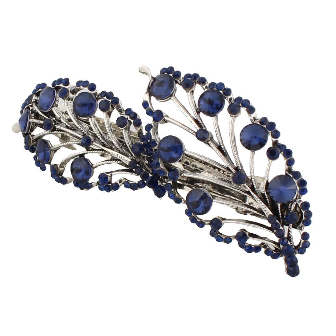 Lady Metal Hollow Leaf Shaped Vintage Sparkle Rhinestone Decor Hair Clip Blue